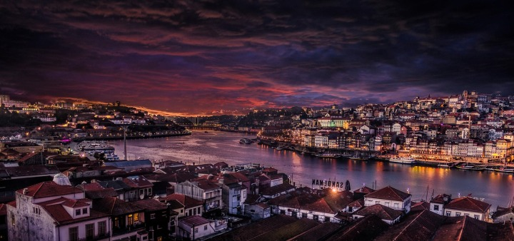 Porto city, Portugal at night